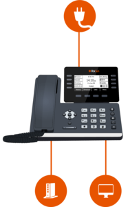 With VoxSun's IP phones, you can use the same network Ethernet cable for your phone and computer